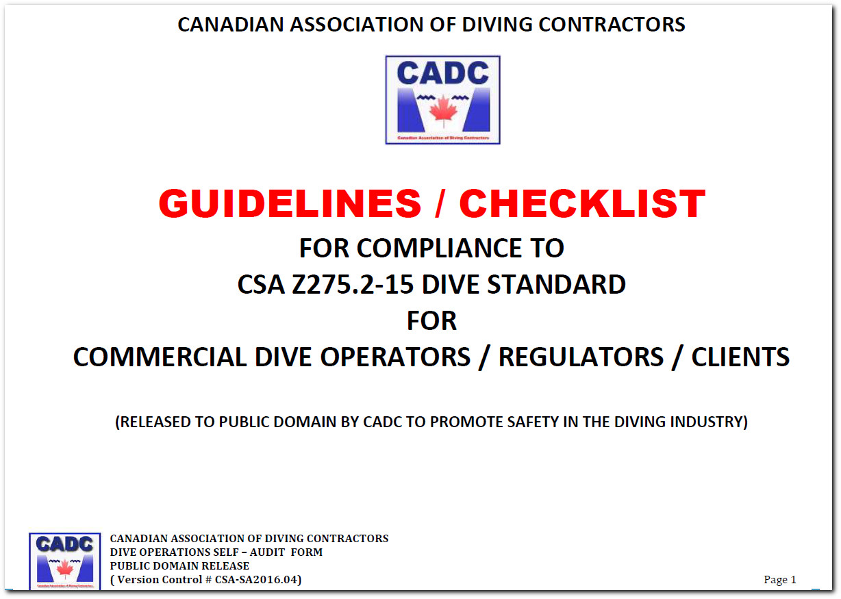 cadc csa checklist domain compliance guideline dive z275 operations releases standard 24th admin april